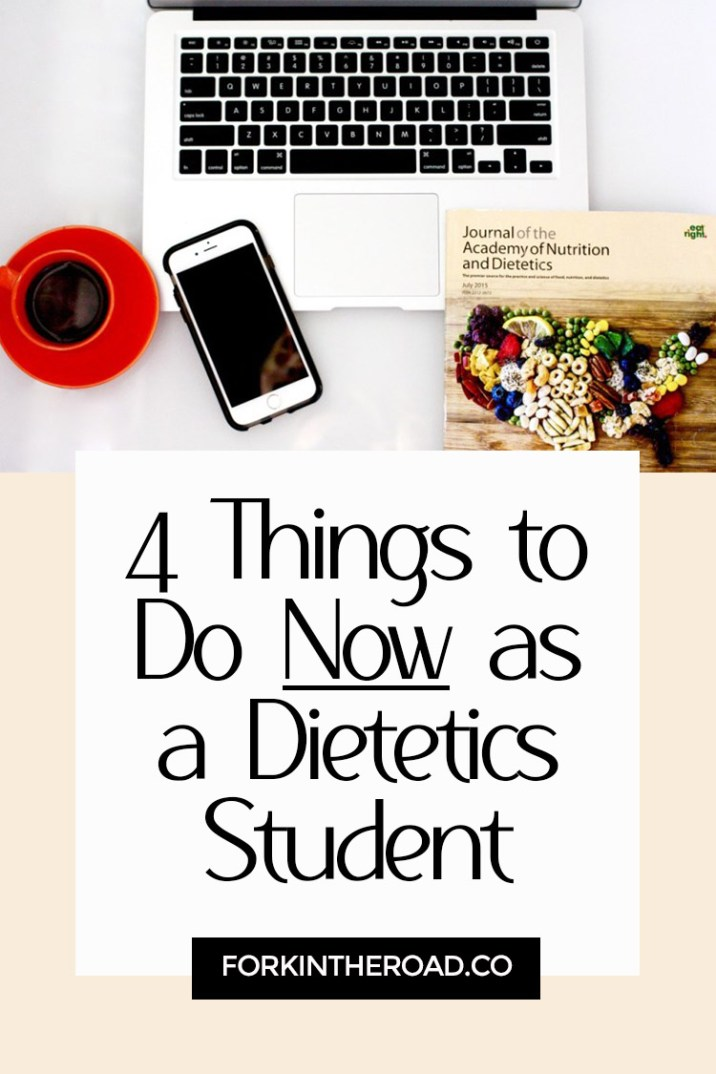 """A computer on a table with a cup of coffee with the words """"4 things to do now as a dietetics student"""" in black writing."""