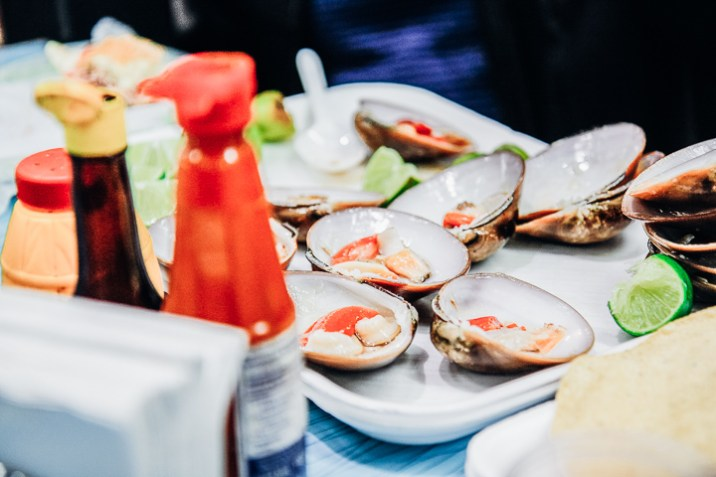 Oysters with hot sauce on the Sabores Mexico City food tour.