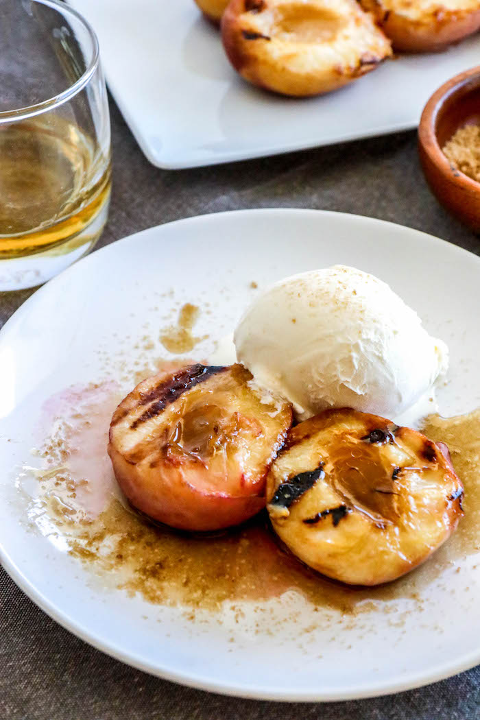 Grilled Peaches with Brown Sugar Bourbon Sauce