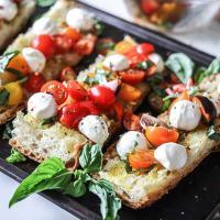 Caprese Ciabatta Toast, an easy dinner of ciabatta bread with a fresh caprese salad on top!