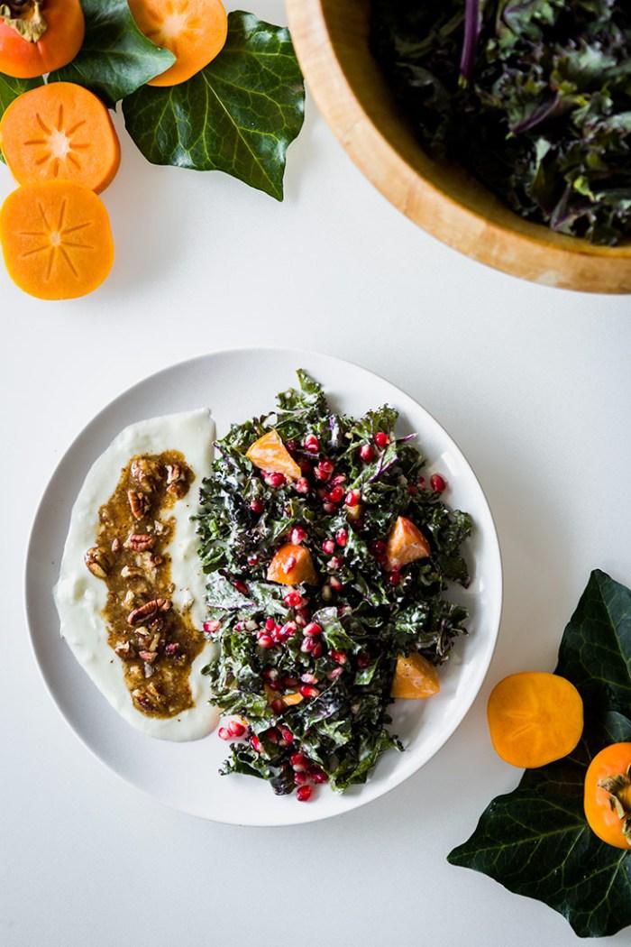 Kale + Persimmon Salad with Pecan Yogurt Dressing