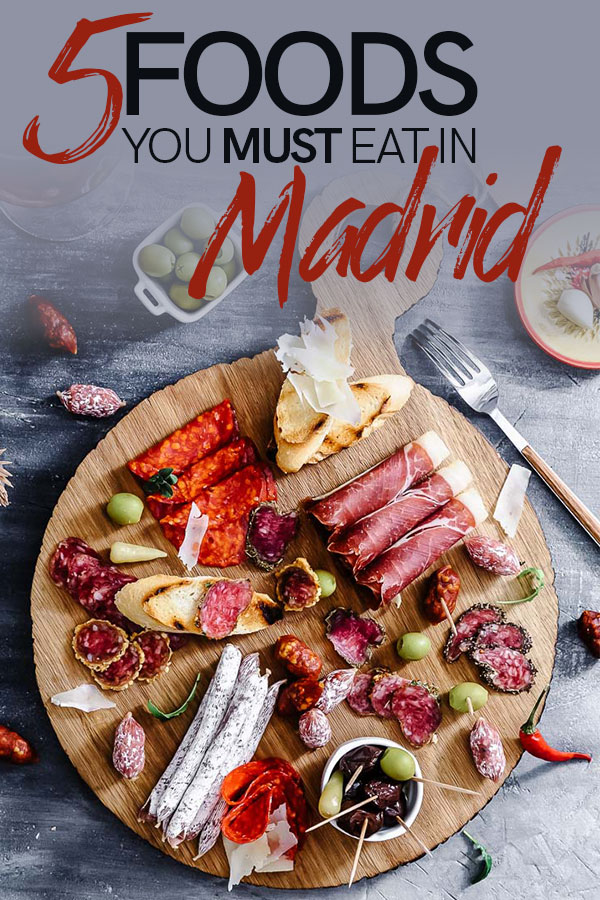Five traditional foods from Madrid that you MUST eat on your next trip to Spain. From tortilla espanola to churros to huevos rotos, these five foods are essential for food-loving travelers to Spain's capital city. #madrid #spain #travel #food #traveltips