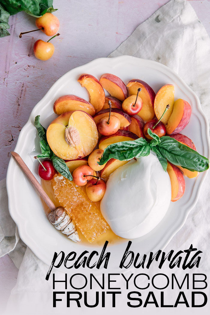 Peach Burrata Honeycomb Fruit Salad, an easy fruit salad made from fresh peaches, burrata cheese, honeycomb, and fresh basil. Simple and satisfying! #peaches #burrata #honeycomb #fruitsalad #picnic