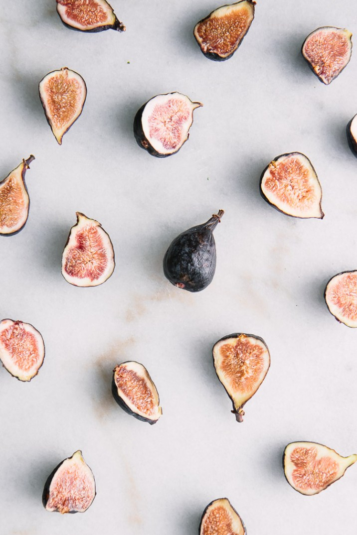 Cut figs on a piece of marble.