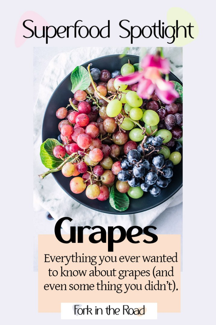 "A colorful graphic with a bowl of grapes and the words ""Superfood Spotlight on Grapes"" in black writing."