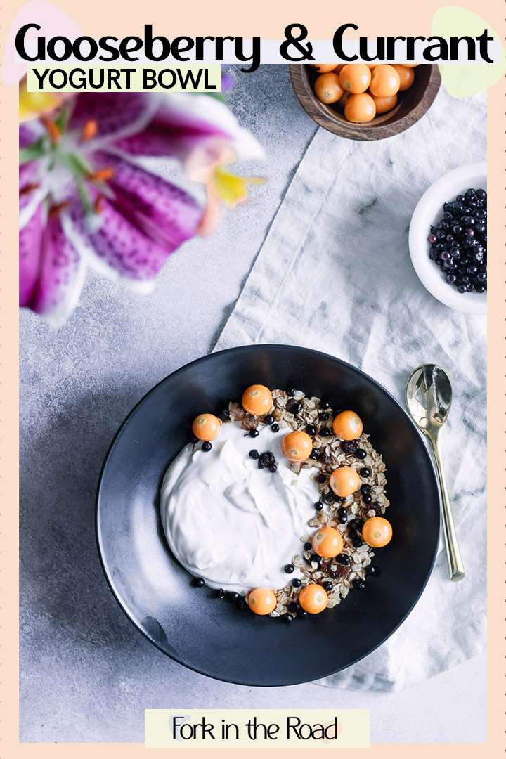 Simple Gooseberry Currant Yogurt Bowl is the perfect breakfast bowl recipe for busy mornings. #healthy #breakfast #recipe #granola #yogurt