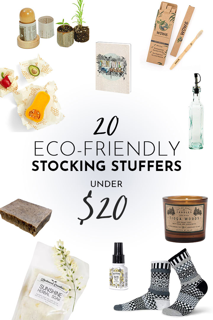 a collage of eco-friendly stocking stuffer gifts including candles, soap, socks, and glass bottles on a white background.