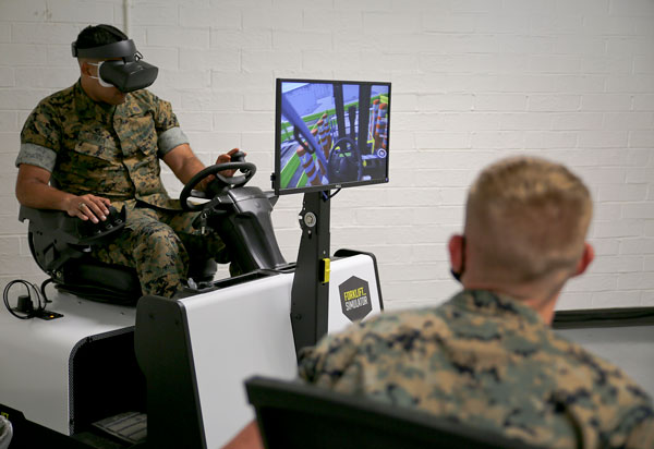 Forklift simulator improves U.S. Marines operator training