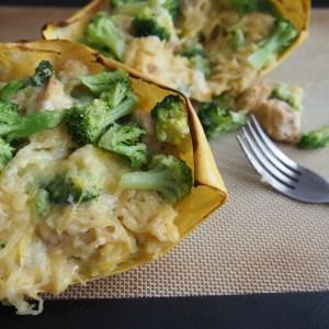 Spaghetti Squash Boats with Chicken & Broccoli