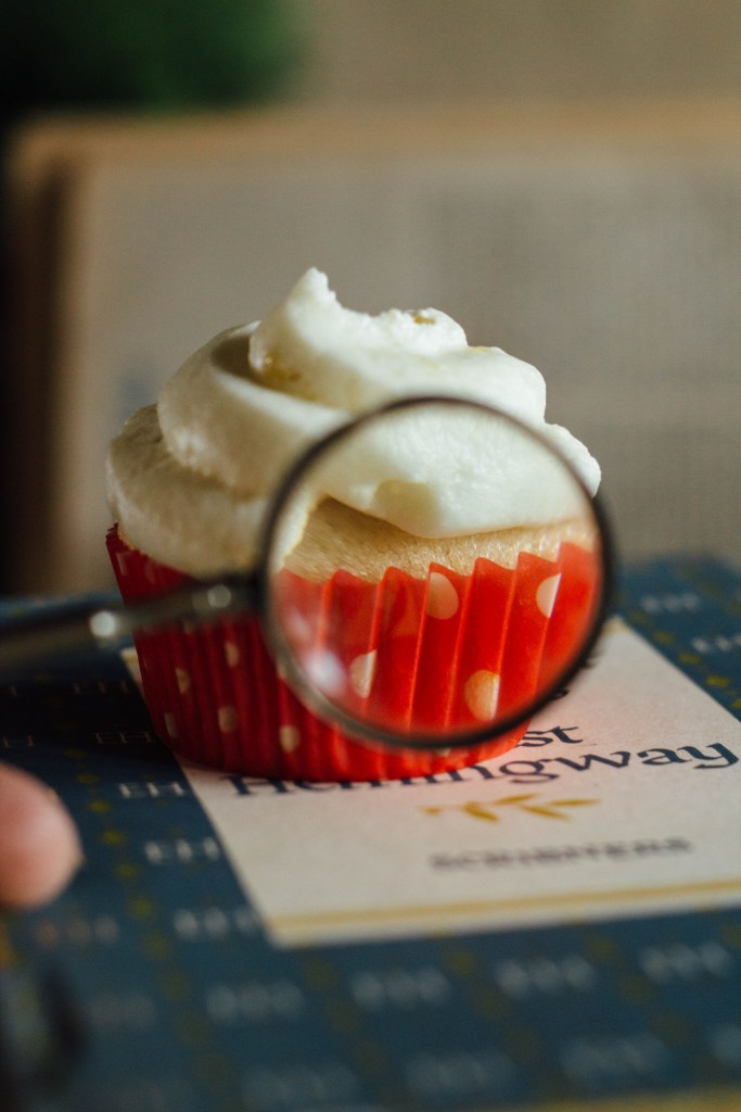 single serving vanilla cupcakes fork to belly