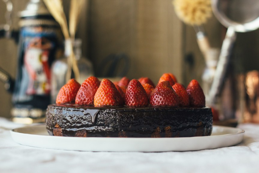 strawberry chocolate glaze marzipan cake fork to belly
