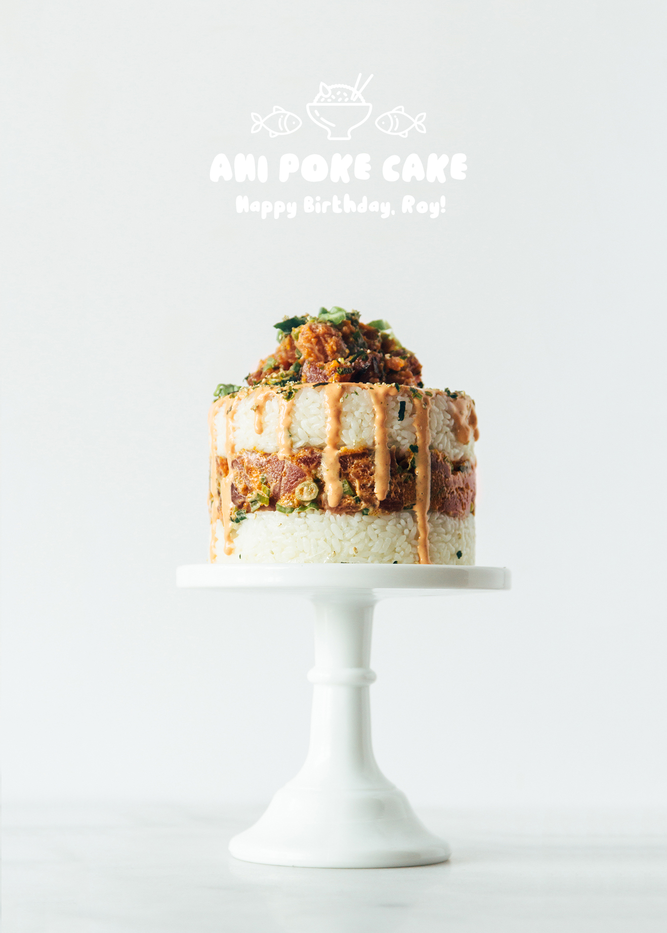 ahi poke cake fork to belly