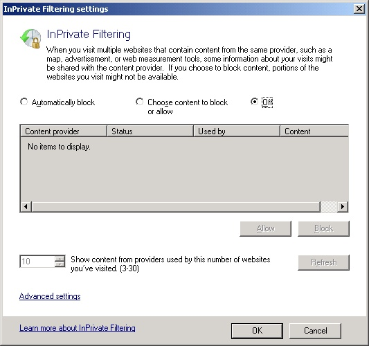 InPrivate Filtering Settings
