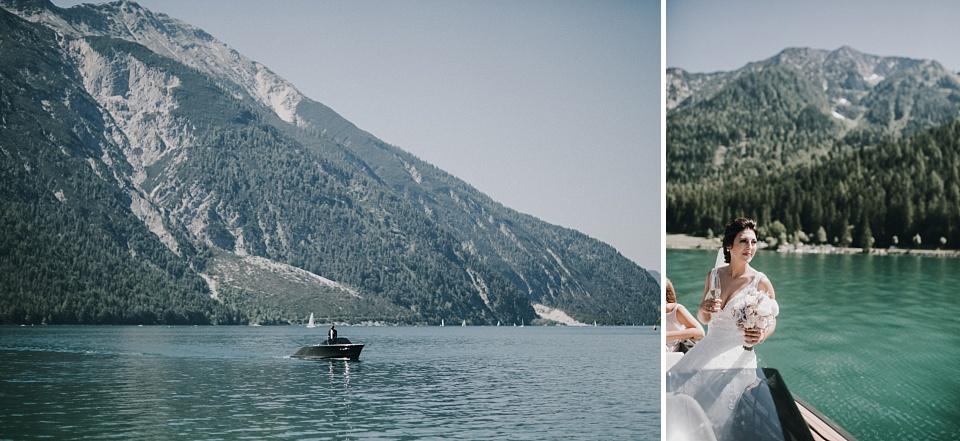 Hochzeit am Achensee, Motorboot, Brautpaar
