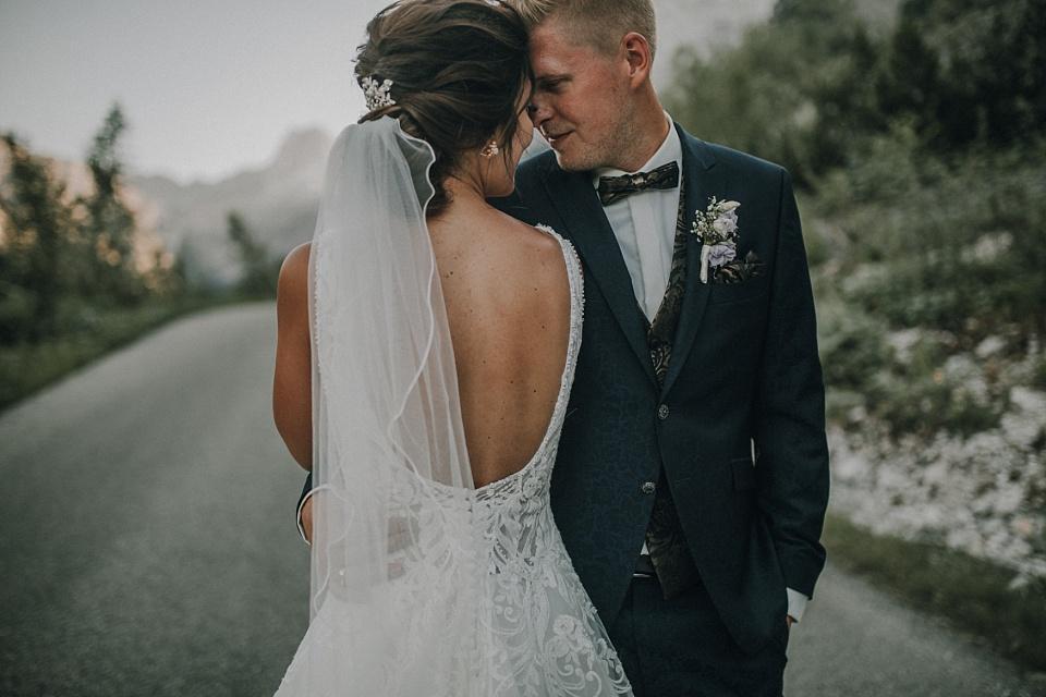 Paarshooting, Berge, Sonnenuntergang, Brautpaar