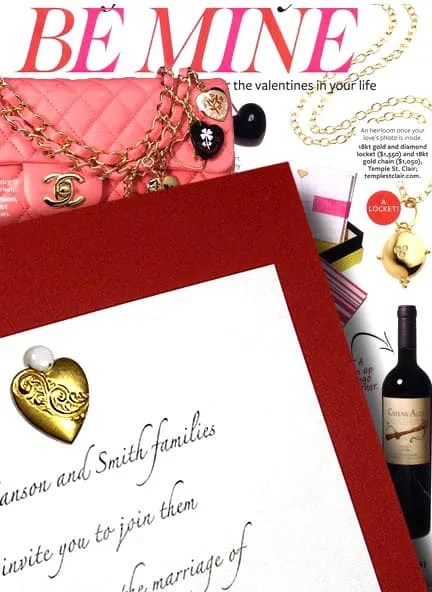 Lovely Red Wedding Invitations with Heart Charm