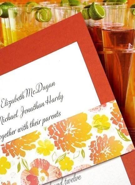 Papaya Orange Wedding Invitations with Floral Wrap