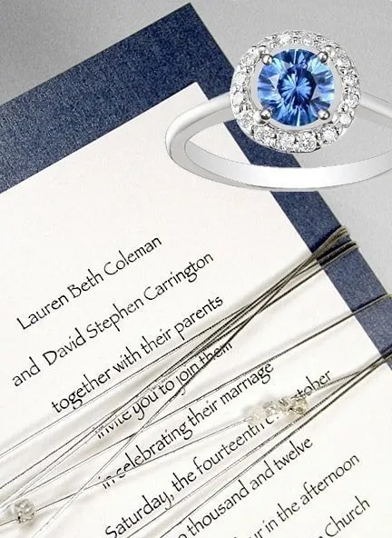 Midnight Blue Wedding Invitations with Silver Cord and Beads