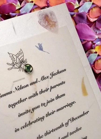 Handmade Garden Wedding Invitations with Petal Paper