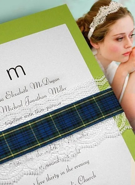Pear Green Invitation with Plaid and Lace Wrap