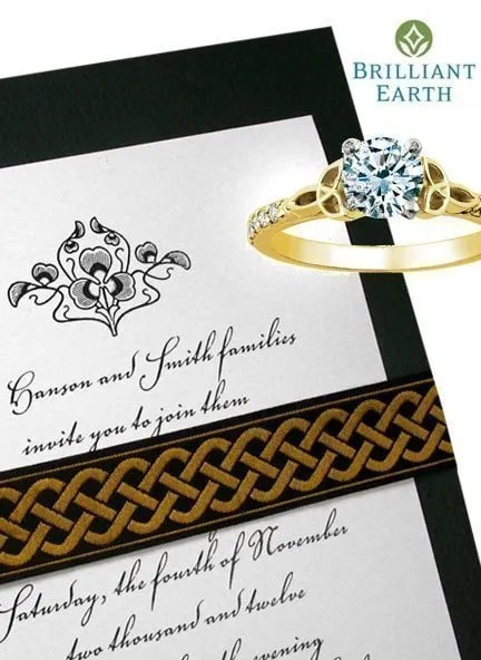 Beautiful Irish Wedding Invitations with Embroidered Celtic Wrap