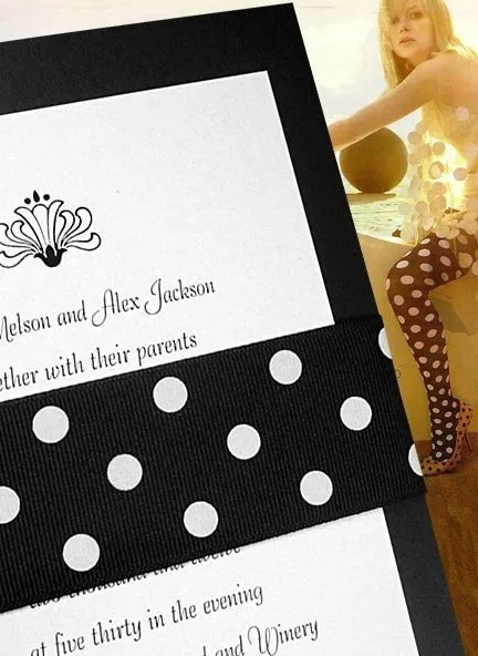 Chic Black and White Wedding Invitations with Polka Dot Wrap