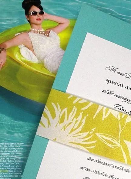 Cool Tiffany Blue Wedding Invitation with Floral Wrap