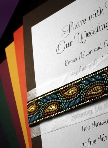 Invitations with Embroidered Leaf Ribbon Wraps