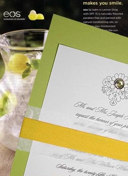 Pear Green Wedding Invitation with Yellow Ribbon Wrap