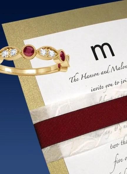 Gold Wedding Invitation with Wine Ribbon Wrap