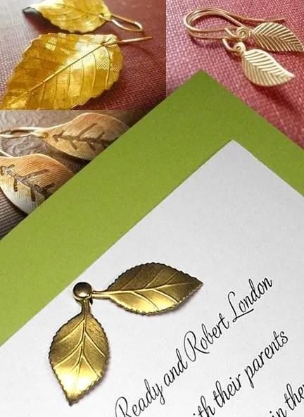 Fresh Pear Green Wedding Invitations with Leaves Charm
