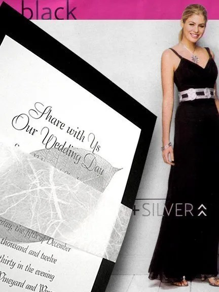 Chic Black Wedding Invitations with Silver Leaf