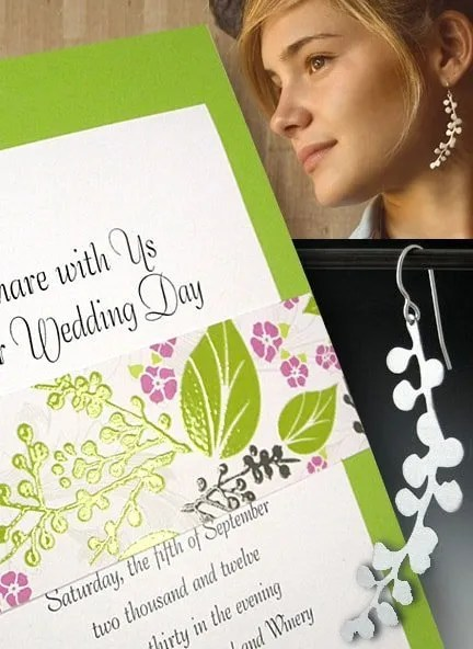 Pear Green Wedding Invitations with Floral Sash