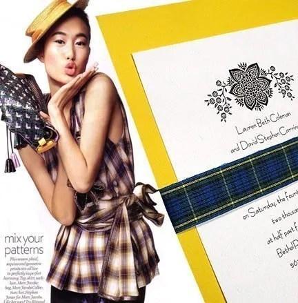Lemon Yellow Wedding Invitation with Blue Tartan Wrap