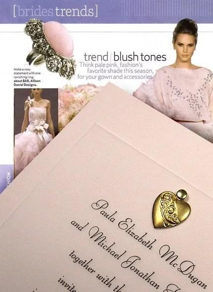 Blush Pink Wedding Invitations with Brass Heart Charm
