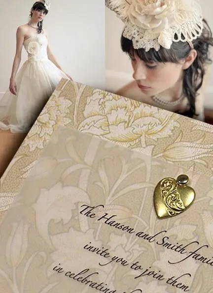 DIY Victorian Wedding Invitations with Brass Heart Charm
