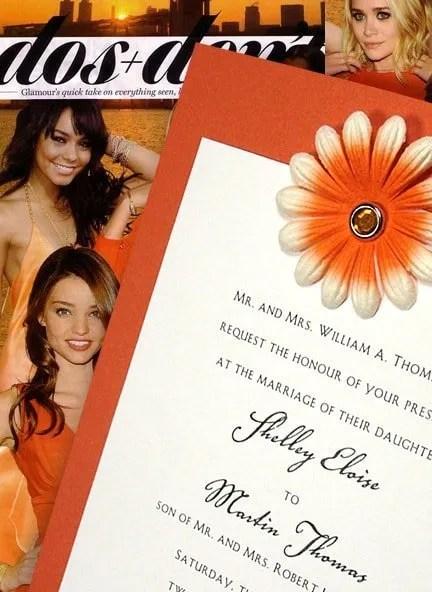 DIY Orange Wedding Invitation with Petal Embellishment