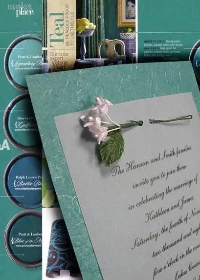 Teal Wedding Invitations with Miniature Jasmine Silk Flowers