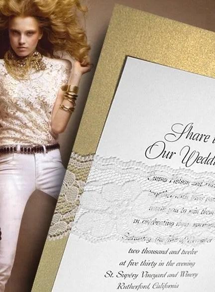 Metallic Gold DIY Wedding Invitations with Lace Wrap