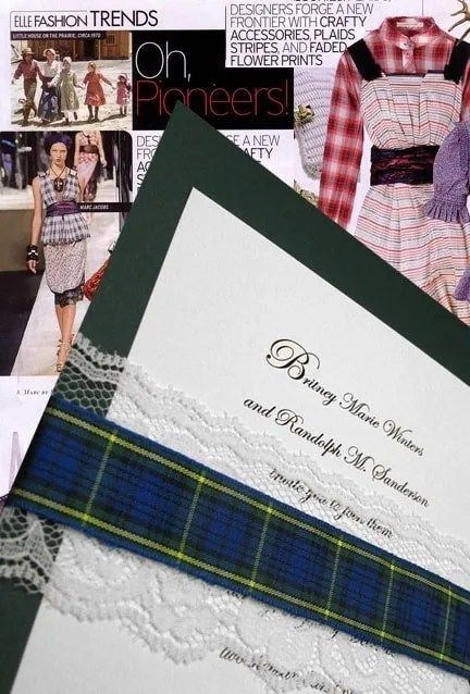 Plaid and Lace Wedding Invitations for Fall