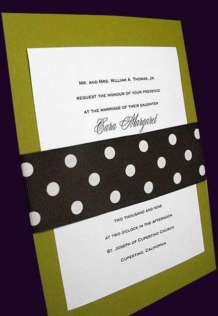 Apple Green Wedding Invitations with Dark Brown Polka Dot Wrap