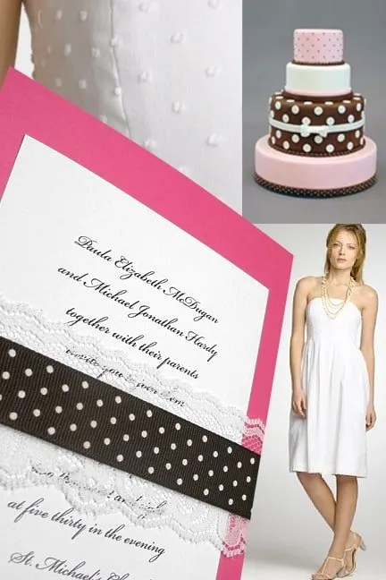 Pink Wedding Invitations with Brown Swiss Dot Wrap