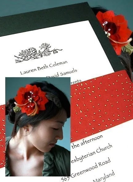 Forest Green Invitation with Red Beaded Wrap