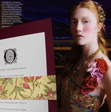 Burgundy Wine Floral Renaissance Wedding Invitations