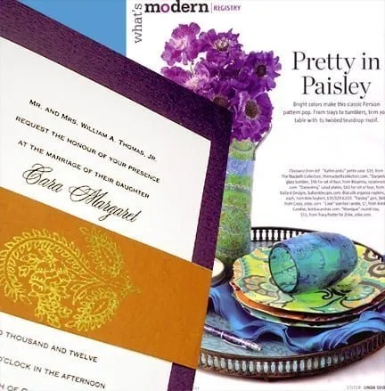 Purple and Rust Wedding Inivtations with Paisley Wrap