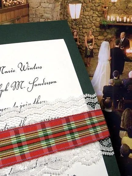 DIY Dark Green Wedding Invitations with Plaid and Lace Wrap
