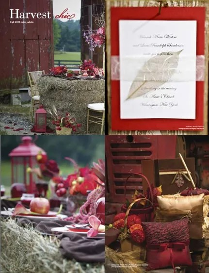 Harvest Chic Red Wedding Invitations with Leaf