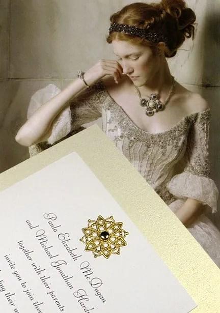 DIY Wedding Invitations with Lacy Brass Medallion