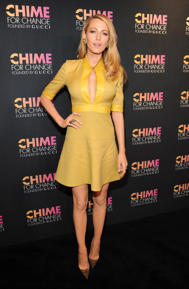 Blake Lively's yellow short evening dress