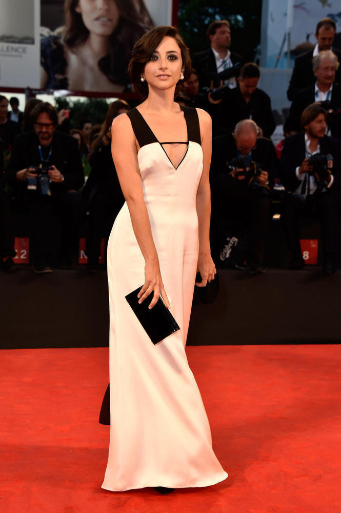 Federica De Cola's black and white v neck evening dress